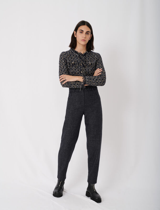 Checked trousers in recycled wool - Pants & Jeans - MAJE