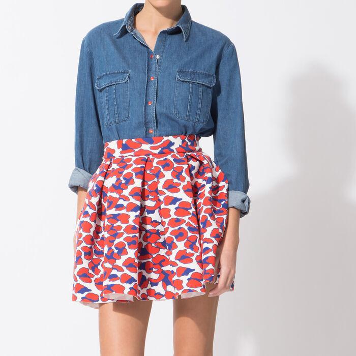 Neoprene-look leopard-print skirt : null color
