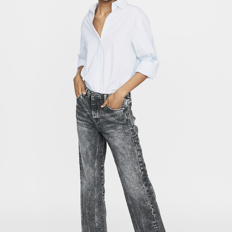 Wide leg distressed jeans : Pants & Jeans color Grey