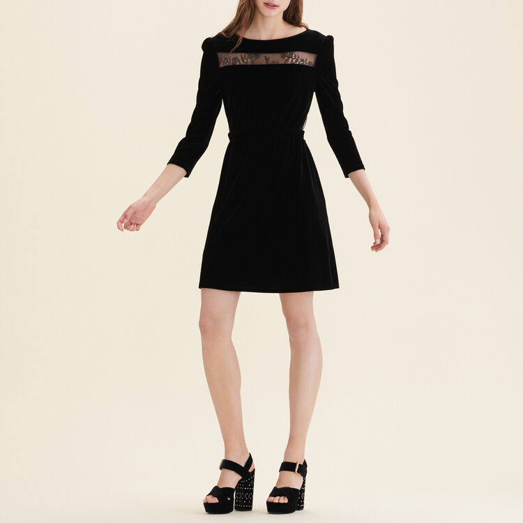 Velvet and lace dress : Dresses color Black 210