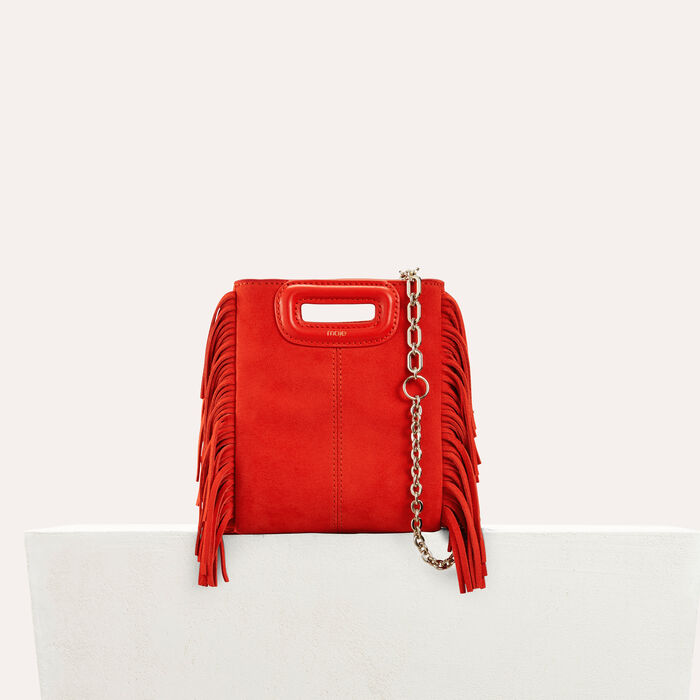 Fringed suede M minibag : Bags color Red