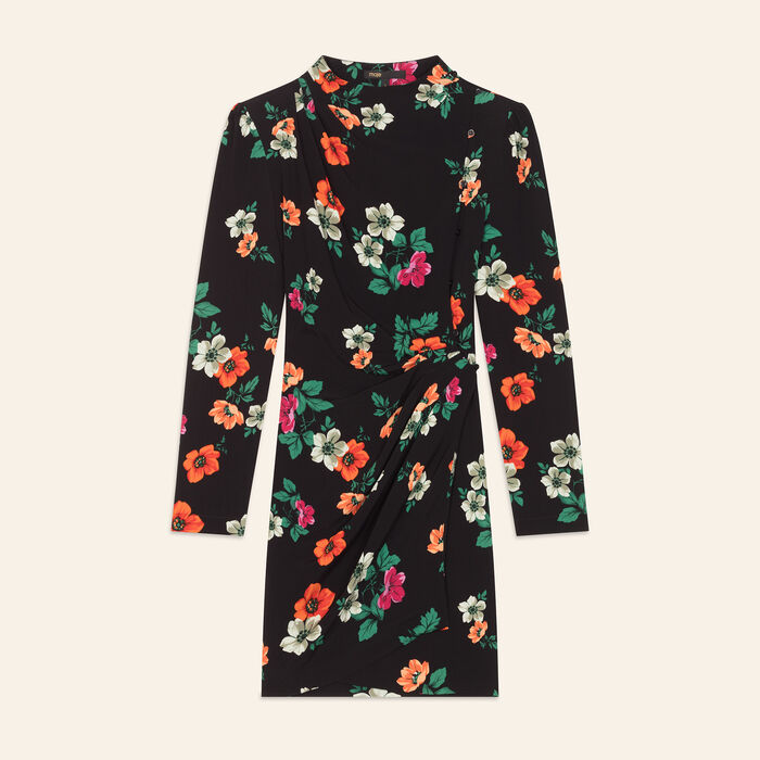 Printed wrapover dress : Flower Prints color Print