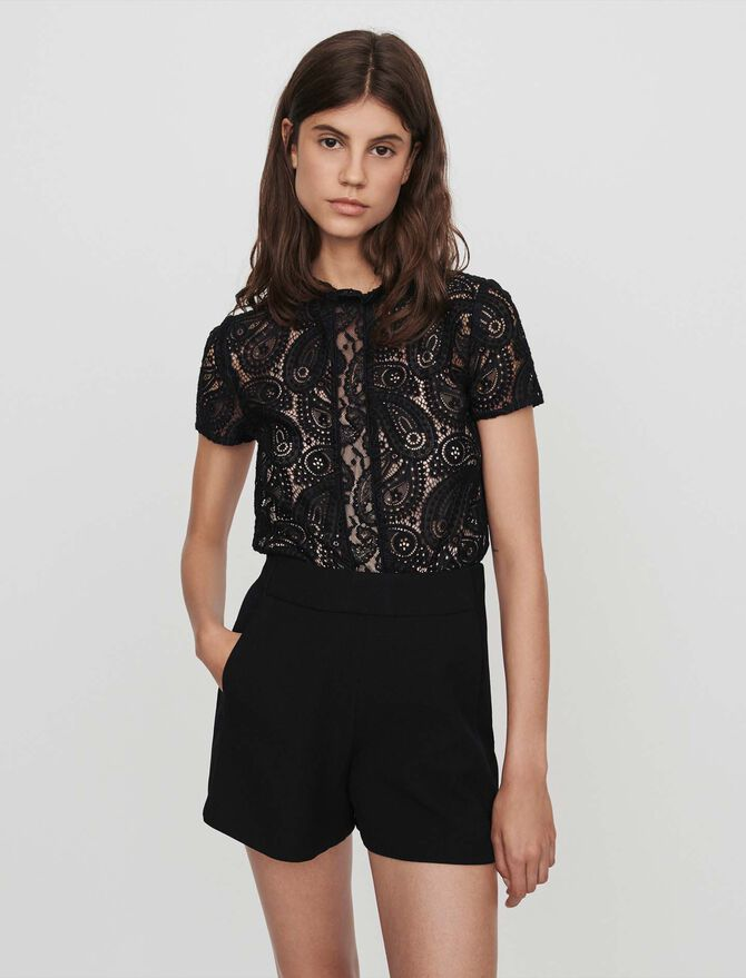 Guipure and crepe playsuit -  - MAJE