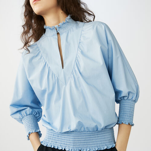 Smocked cotton poplin blouse : Tops & T-Shirts color Blue