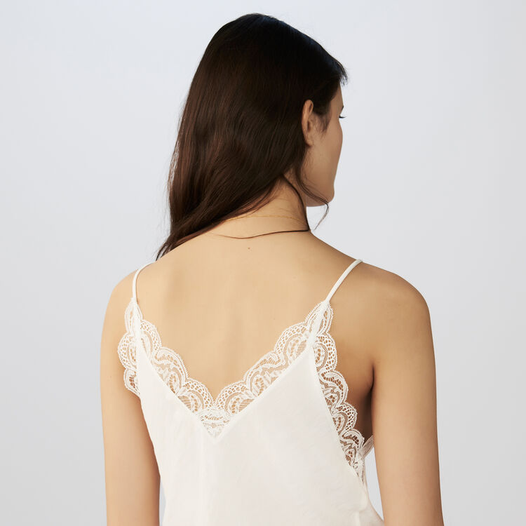 Crepe camisole with lace : The Spring Essentials color Black 210