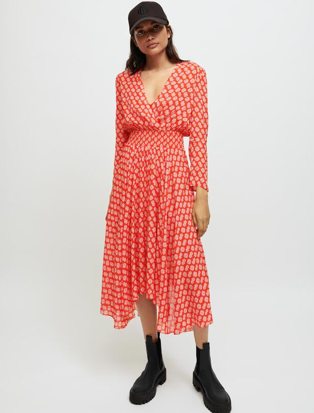 마쥬 프린트 원피스 Smocked Maje printed dress,M Red Monogram