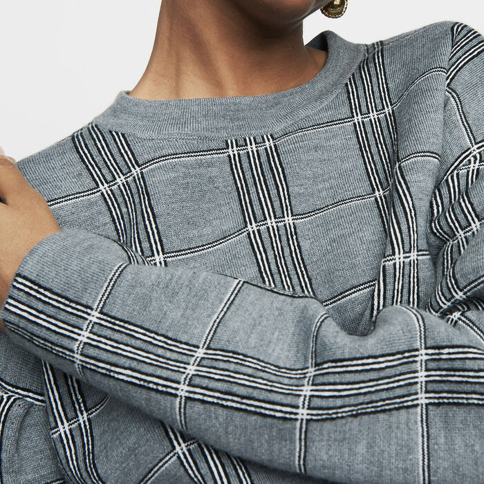 Oversized sweater in jacquard knit : New Collection color CARREAUX