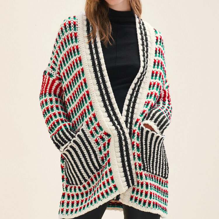 Long multi-coloured knit cardigan - Sweaters - MAJE