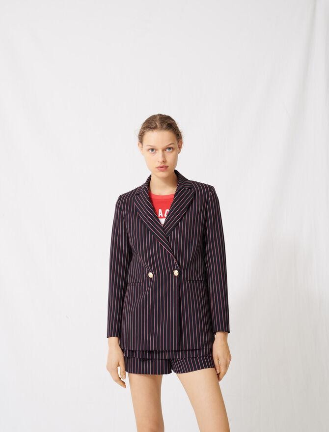 Striped double-breasted jacket - Coats & Jackets - MAJE