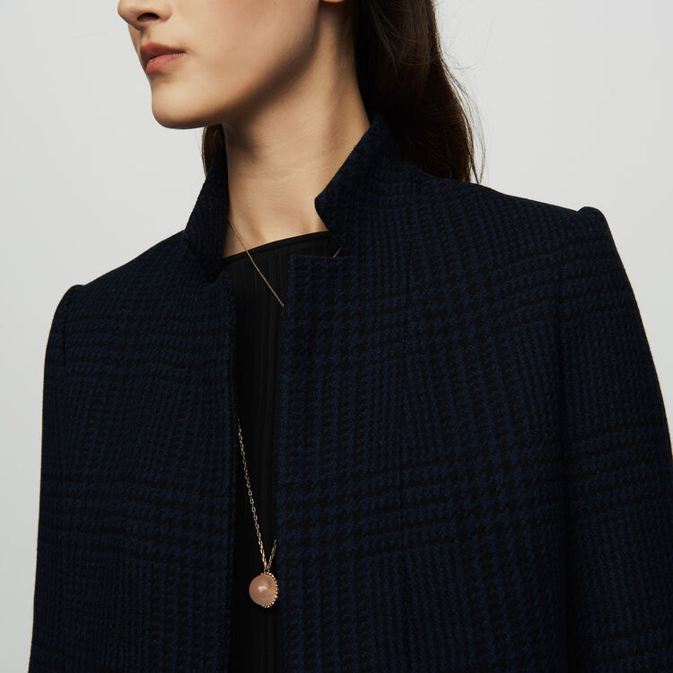 Straight houndstooth coat : Coats & Jackets color Navy