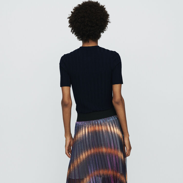 Short-sleeve sweater with tube knit : Sweaters color Navy