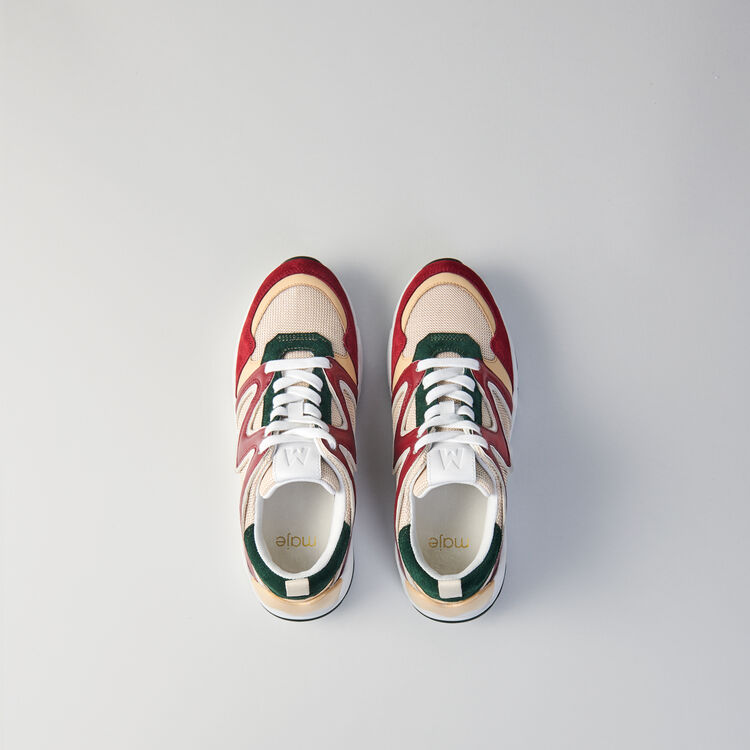 W22 mixed material sneakers : Shoes color GREEN