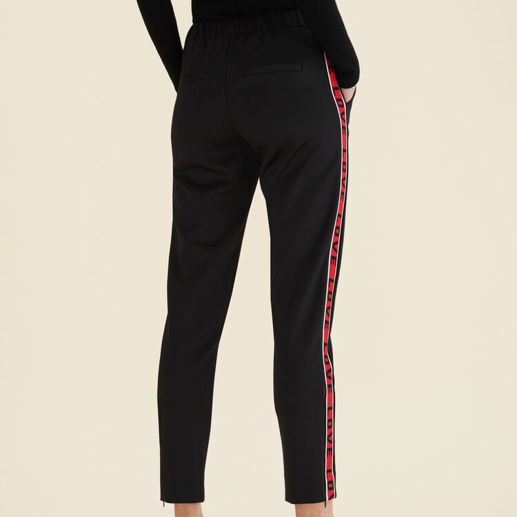 Satin trousers with bands : Pants & Jeans color Black 210