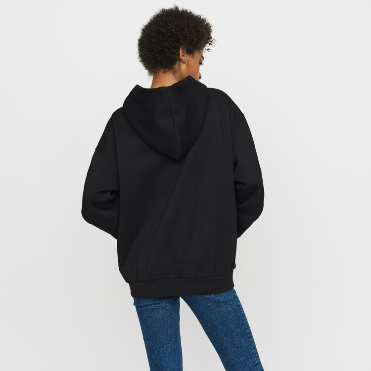 Hooded sweatshirt with pressed buttons : Sweaters color Black 210