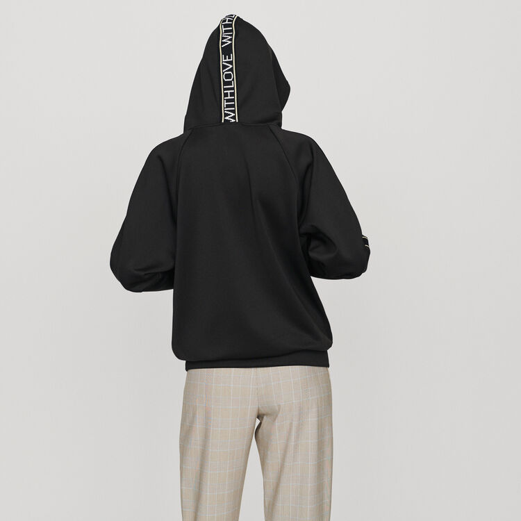 Hooded sweat-shirt withslogan band : Sweaters color Black 210