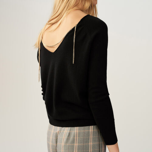 Jumper with low neckline at the back : Sweaters color Ecru