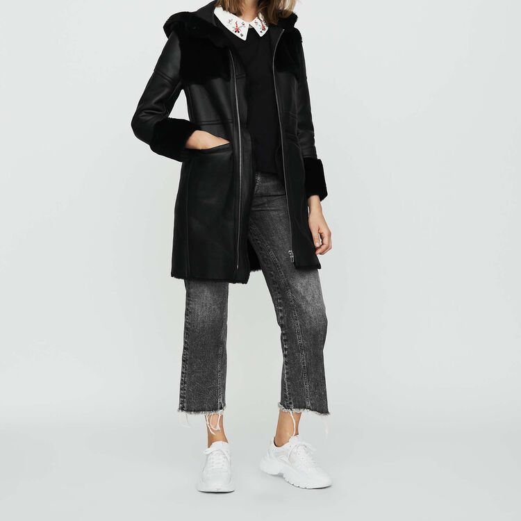 Long shearling coat with mixed material : Coats & Jackets color Black 210