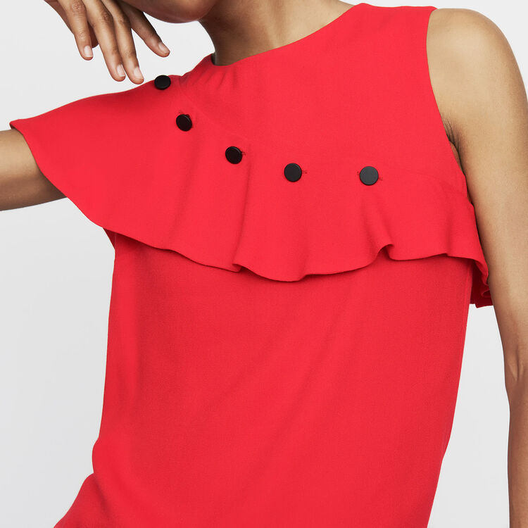 Sleeveless top with ruffle : Tops & Shirts color White