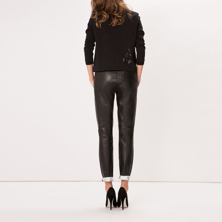 Reversible lambskin leather trousers : null color