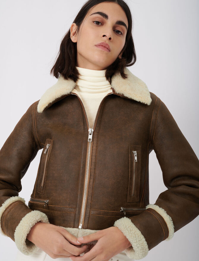 Leather and fur-effect jacket - Coats & Jackets - MAJE