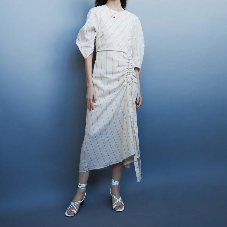 Long striped dress : Dresses color Ecru