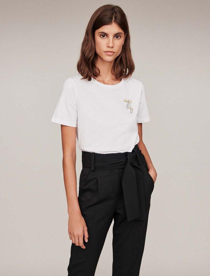 Embroidery and rhinestone cotton t-shirt - T-Shirts - MAJE