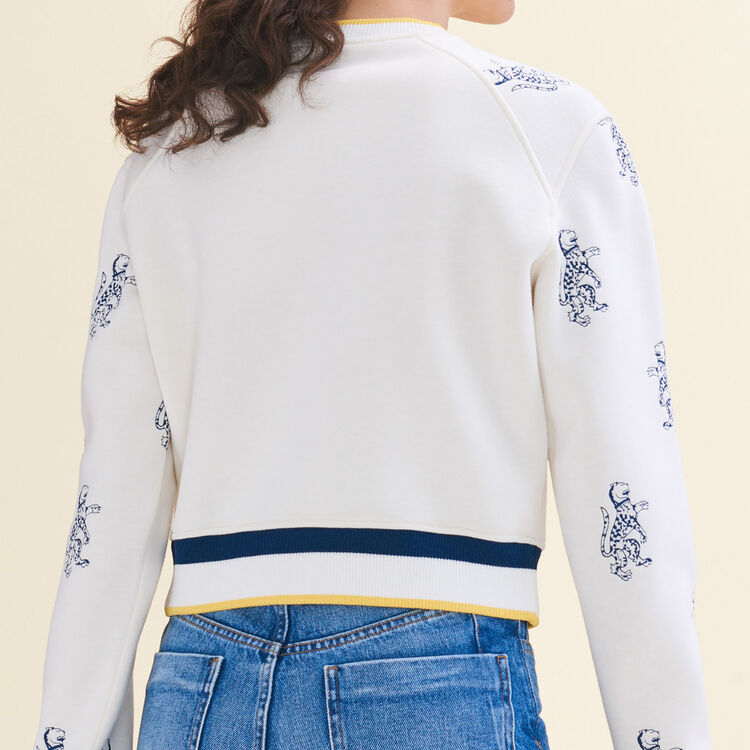Short sweatshirt with tiger embroidery : null color