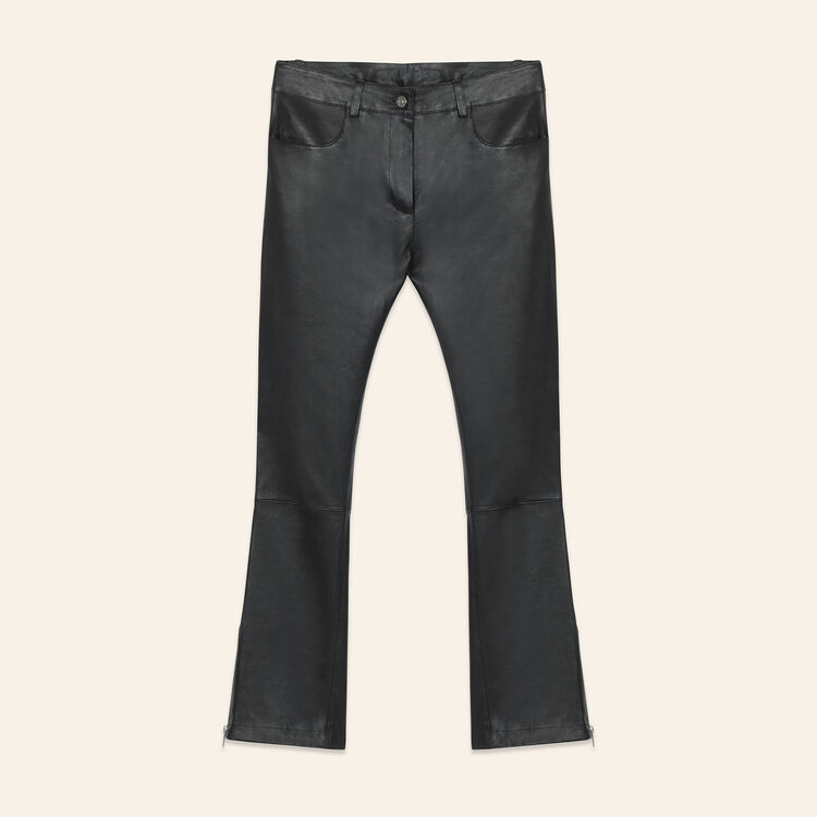 Leather trousers with zip details : Pants & Jeans color Black 210