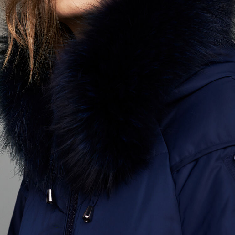 Long down jacket with fur : Coats & Jackets color Navy