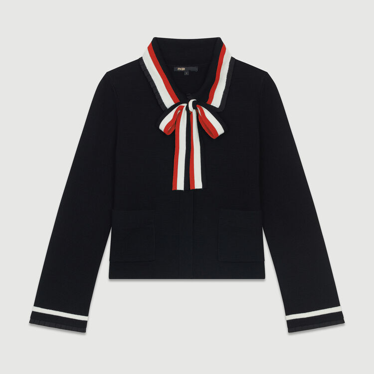 Short cardigan with contrasting stripes : Sweaters color Black 210