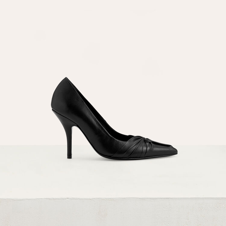 Draped leather pumps : Shoes color Black 210
