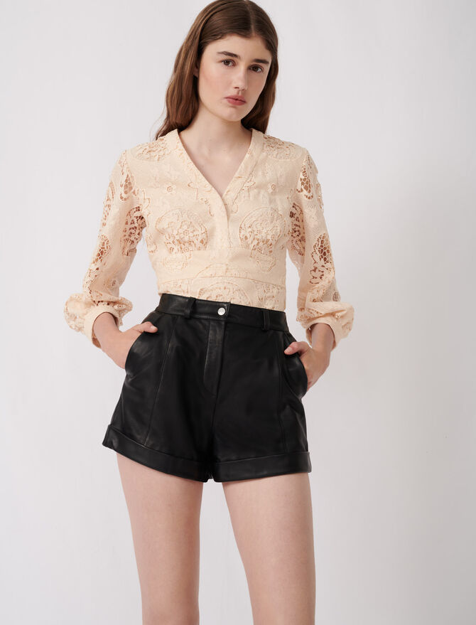 Cuffed shorts with topstitching -  - MAJE