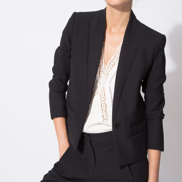 Crepe and wool suit jacket : Copy of Sale color