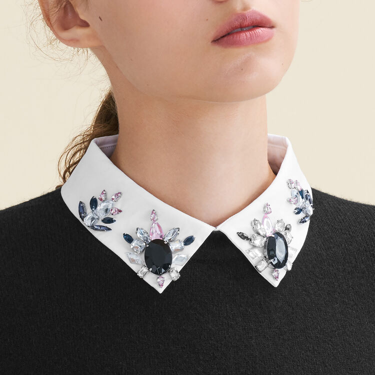 Rhinstone jumper with shirt collar : null color
