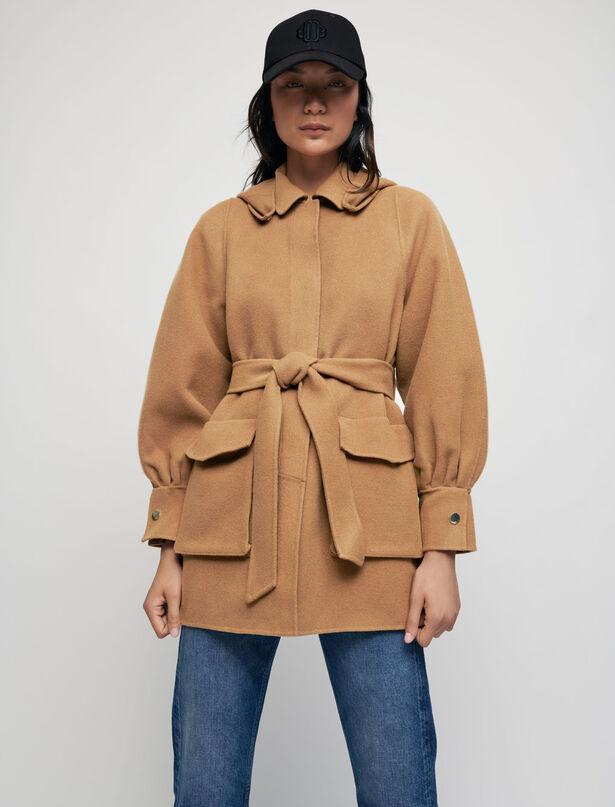 마쥬 MAJE Double-faced wool blend belted coat,Tobacco