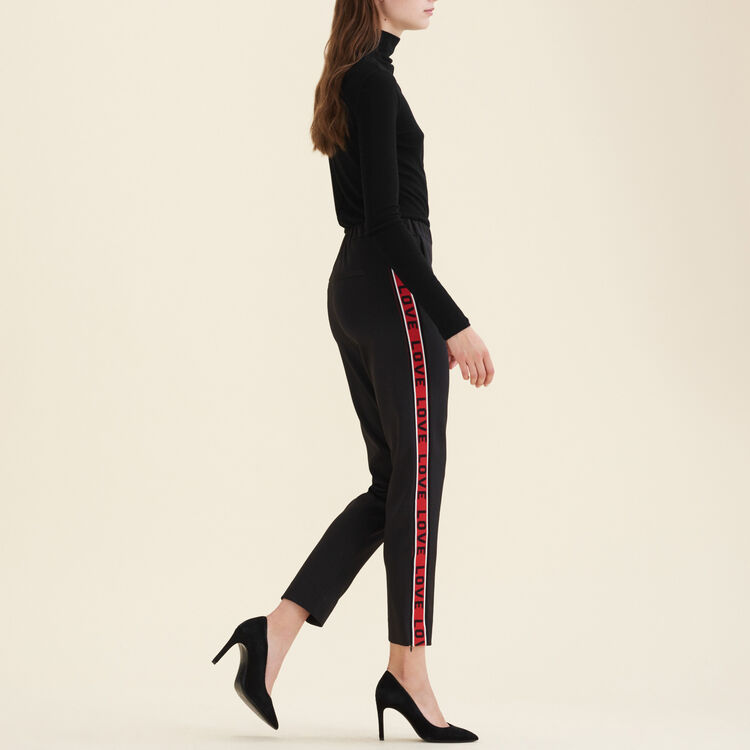 Satin trousers with bands : The Essentials color Black 210