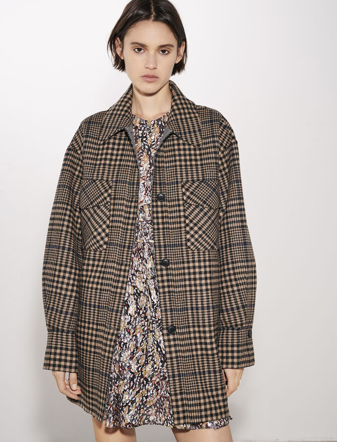 Belted check print coat - New Collection - MAJE