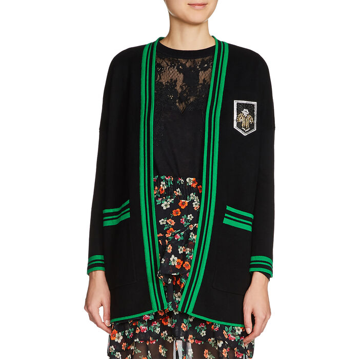 Mid-length cardigan with crest : Sweaters color Black 210
