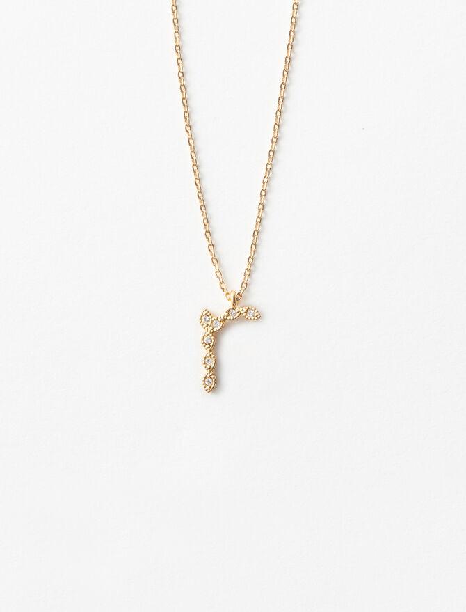 Rhinestone R necklace -  - MAJE