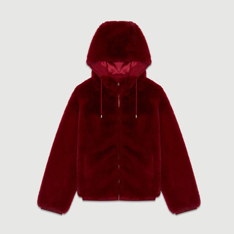 Cropped faux fur jacket : Coats & Jackets color Raspberry