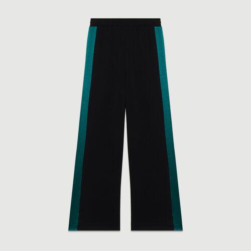 Wide bicolor pants : Pants & Jeans color Black 210
