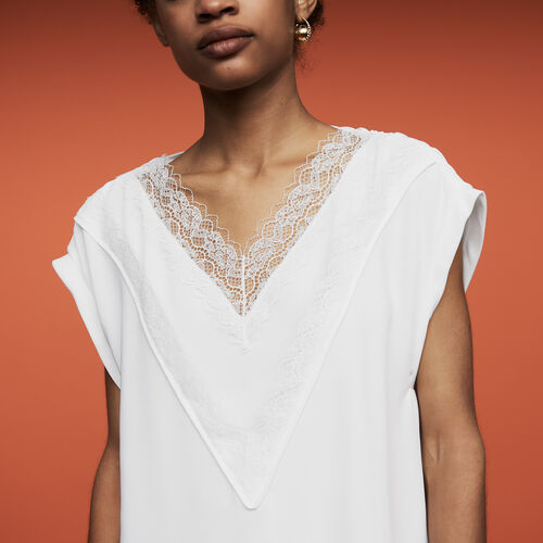 Oversized top with lace : Tops & T-Shirts color White