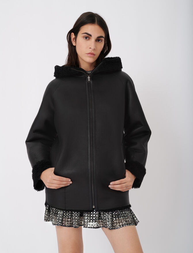 Reversible shearling coat with hood - Coats & Jackets - MAJE