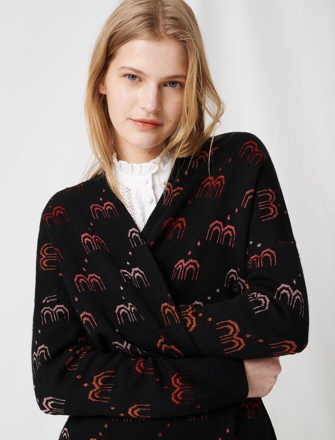 Monogrammed jacquard cardigan - Sweaters - MAJE