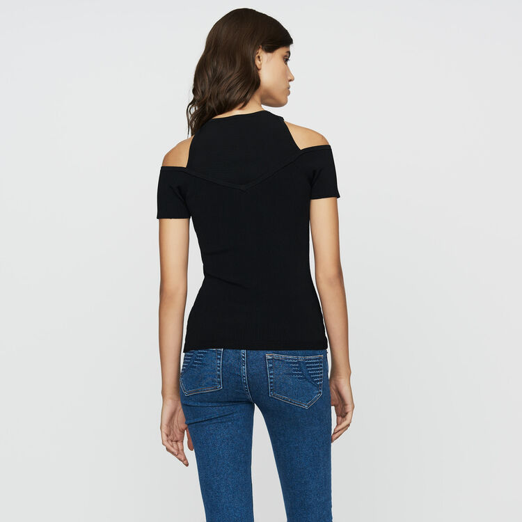 Stretch-knit shoulder T-shirt : Sweaters color Black 210