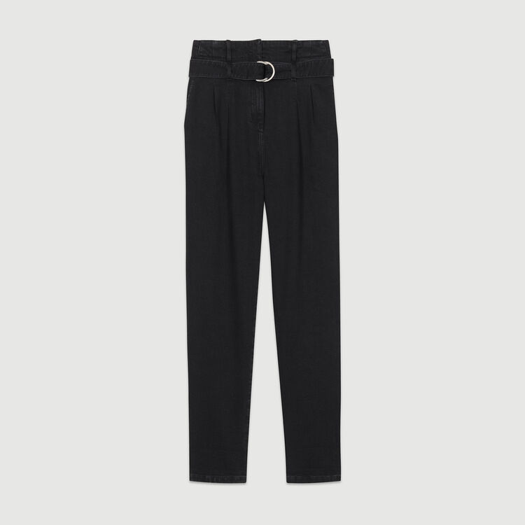 Denim trousers with darts : Pants & Jeans color Black 210