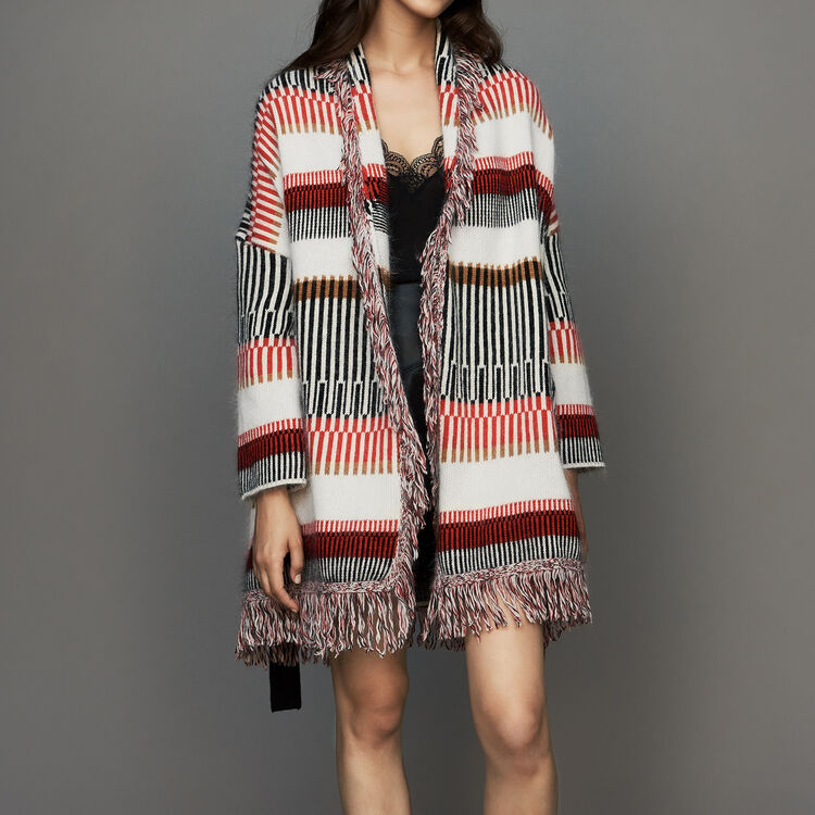 Cardigan in wool blend with fringes : Sweaters color Multico