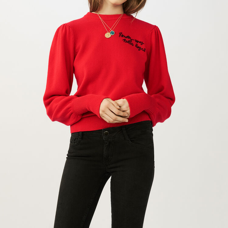 Embroidered knit sweater : Sweaters color ROUGE
