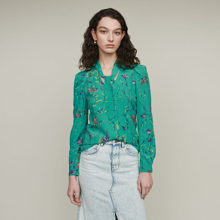 Printed blouse with lavaliere : Tops & T-Shirts color Printed