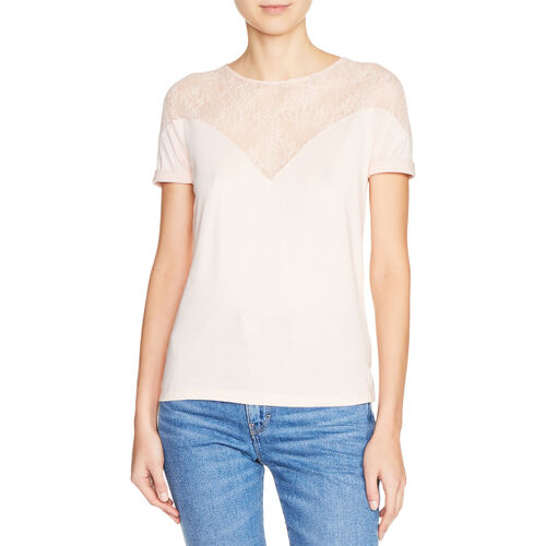 Dual-material top with lace : Tops & T-Shirts color Black 210